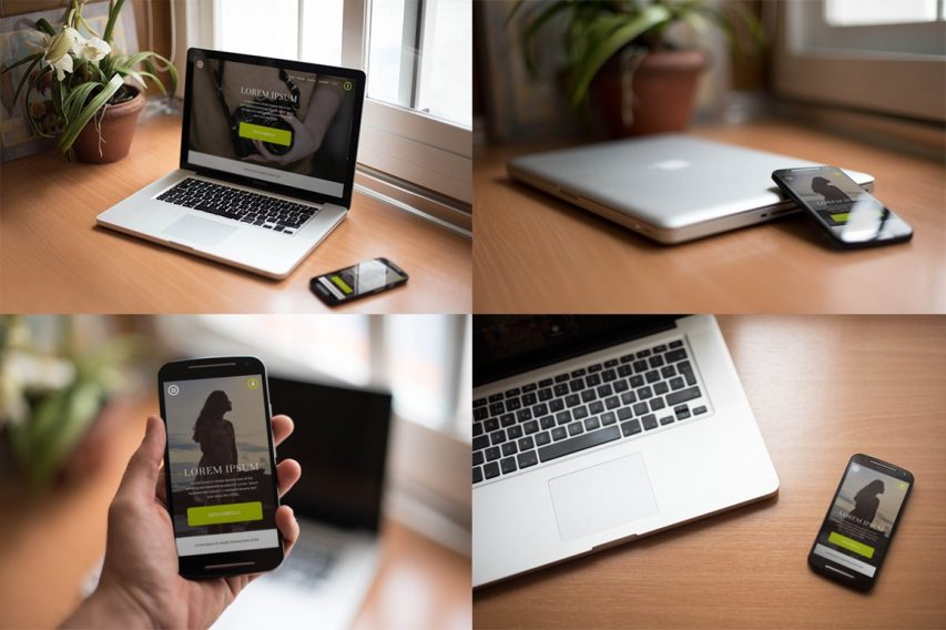 High Quality Realistic Macbook Smartphone Free Mockups PSD