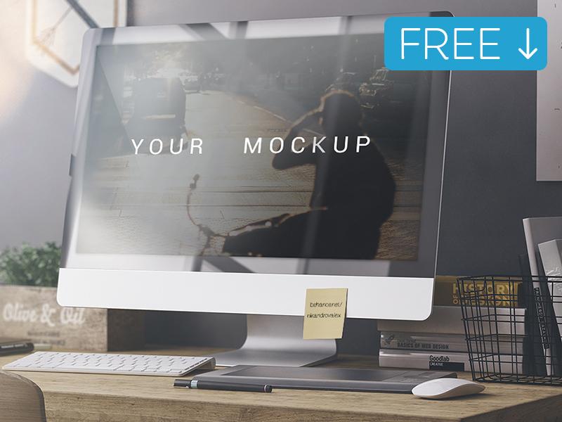 Realistic iMac Mockup Template Free PSD