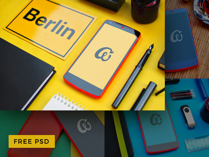 Colorful Nexus 5 Mobile Free Mockup PSD