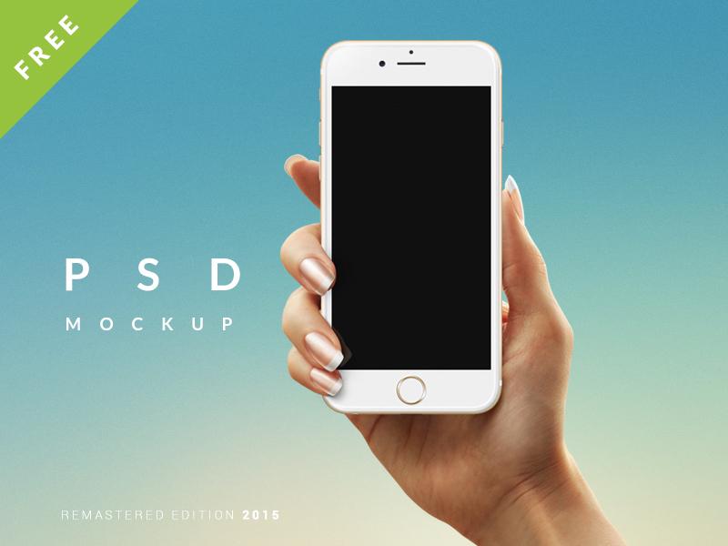 Hand Holding iPhone 6 Mockup PSD Freebie