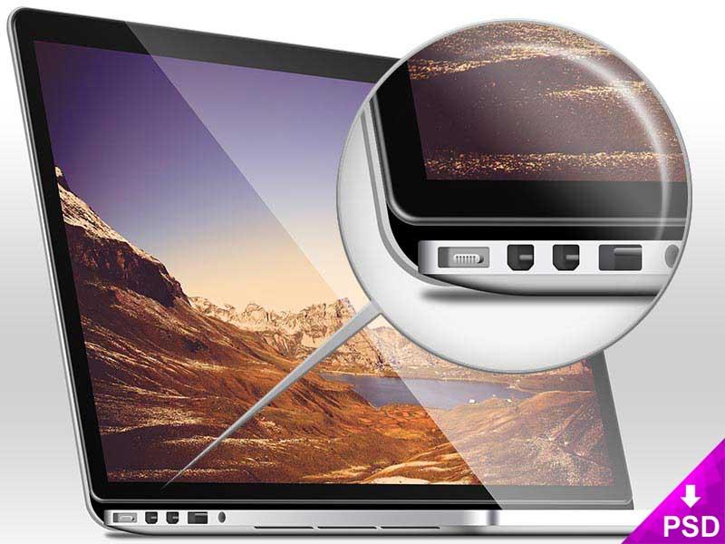 High Resolution Macbook Pro Mockup PSD freebie