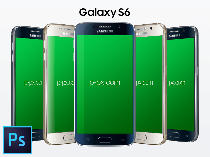 Samsung Galaxy S6 Front Angled Free PSD Mockup