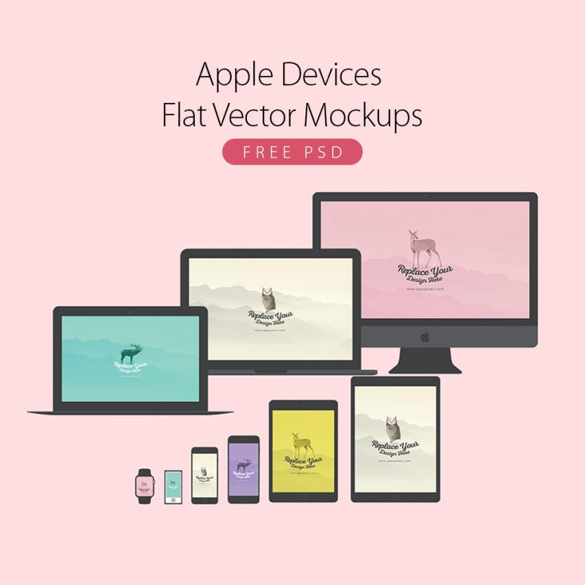 Apple-Devices-Flat-Vector-Mockups-Free-PSD
