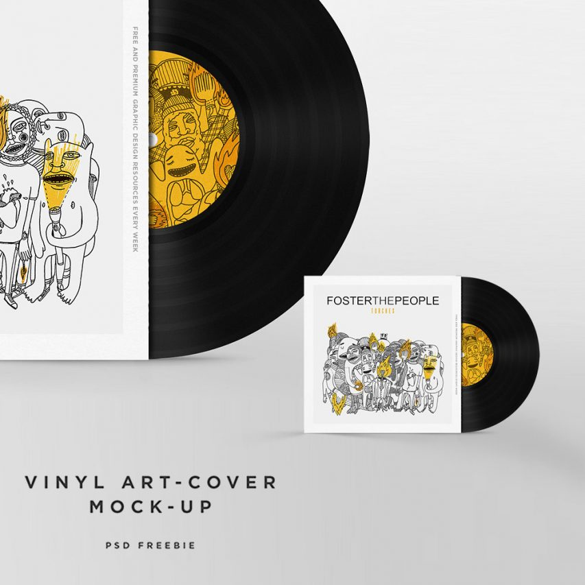 vinyl disc cover art mockup free psd template