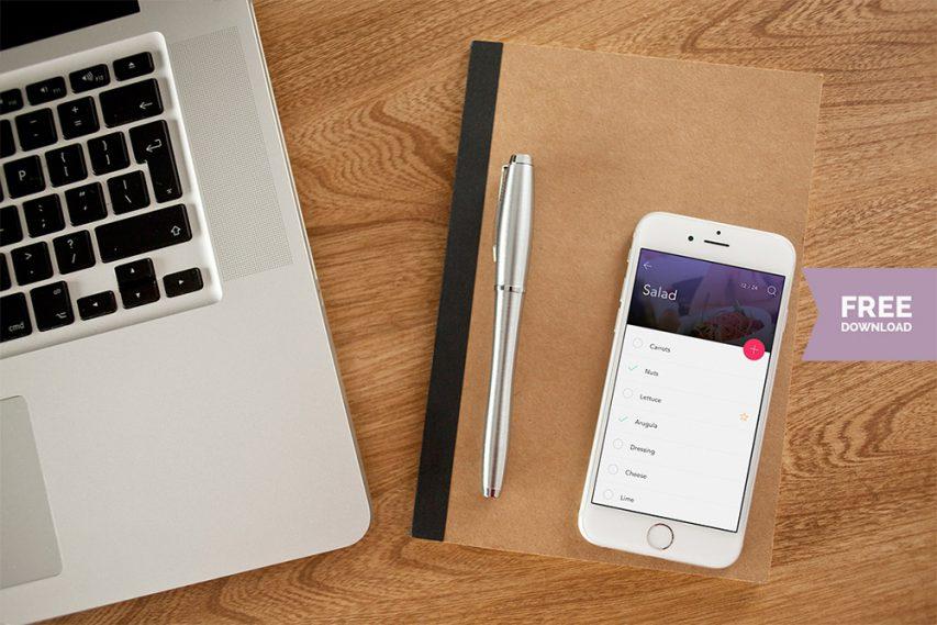 iPhone-6-on-Desk-Photo-Mockup-Free-PSD