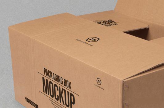 Cardboard Box Mockup Free PSD