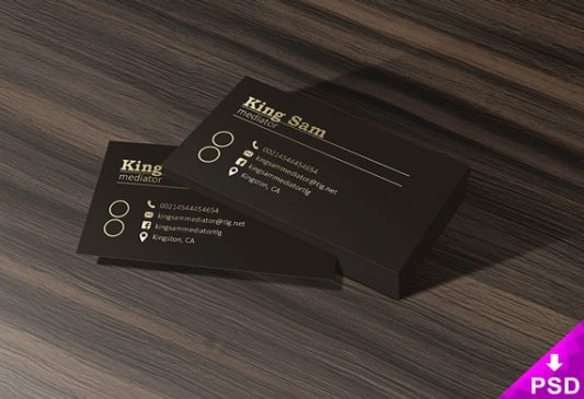 Dark Business Card Mockup Free PSD