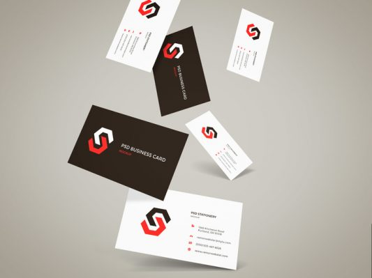 Flying Business Cards Mockup Free PSD