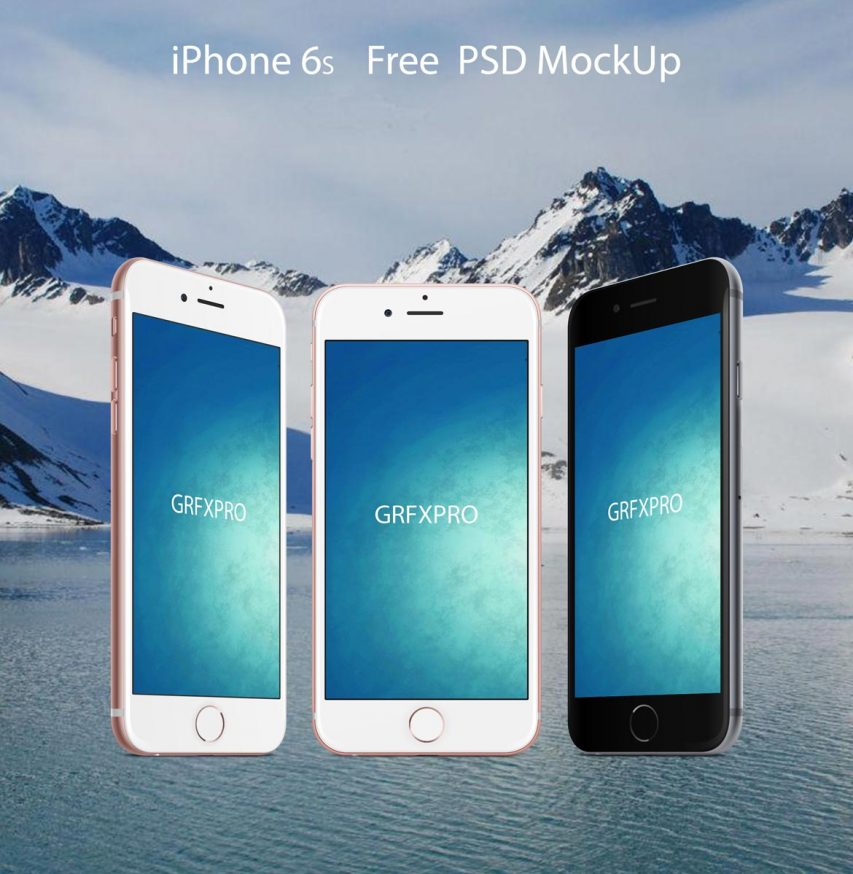 Iphone 6 Front and Angled Mockups Free PSD