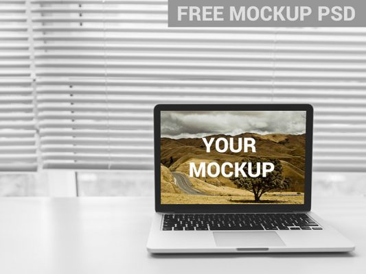 MacBook Front View Mockup Free PSD