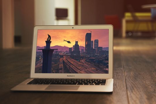 Macbook Air Photo Mockup Free PSD