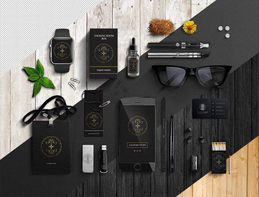office items branding mockup free psd