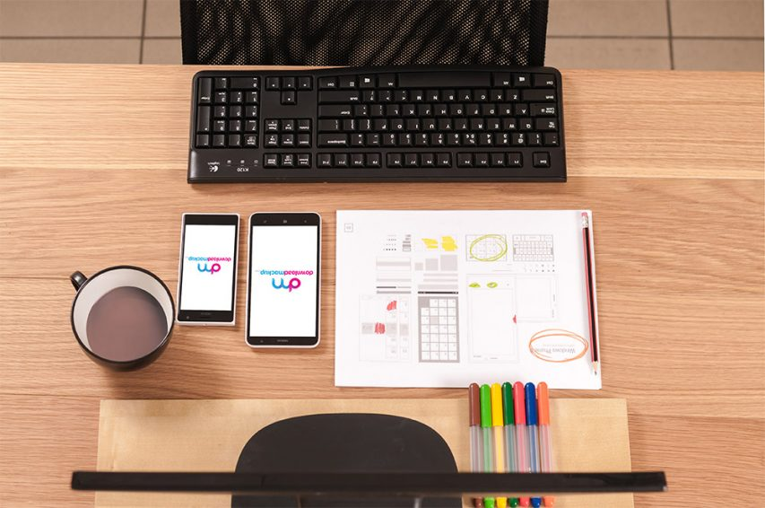 office workspace table free psd mockup