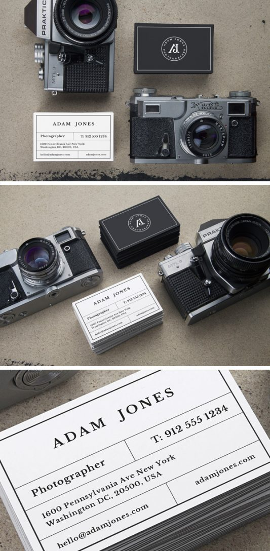 Photographer Business Cards Mockups Free PSD
