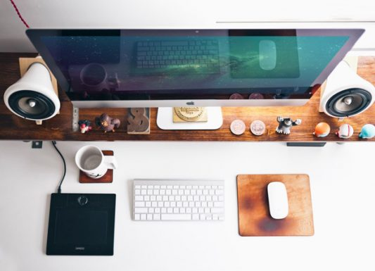 Photorealistic Top view iMac Mockup Free PSD