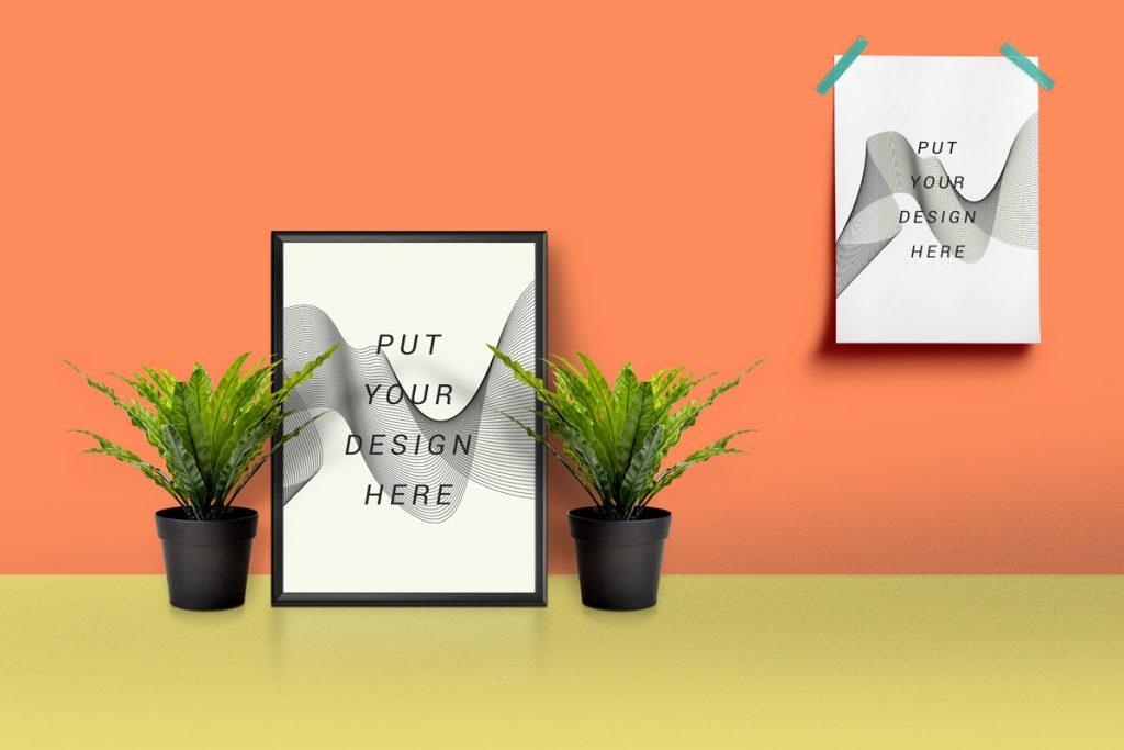picture frame poster mockup free psd download mockup. Black Bedroom Furniture Sets. Home Design Ideas
