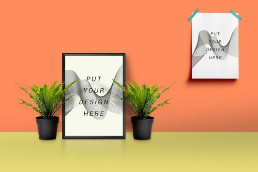 Picture Frame & Poster Mockup Free PSD
