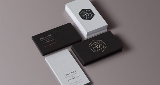 Professional Business Card Stack Mockup Free PSD