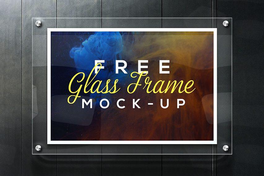 Realistic Glass Frame Mockup Free PSD