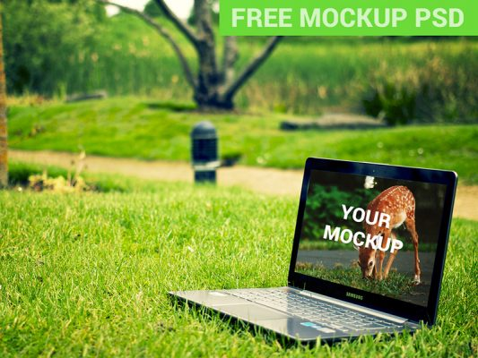 Samsung Laptop Notebook In The Park Free PSD