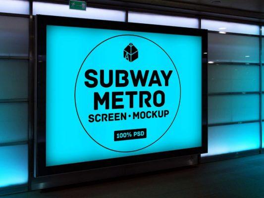 Subway Metro Screen Mockup Free PSD