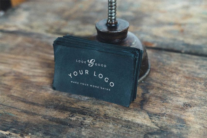Vintage Business Card Mockup Free PSD