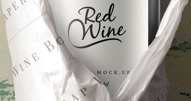 Wine Bottle Packaging Mockup Free PSD