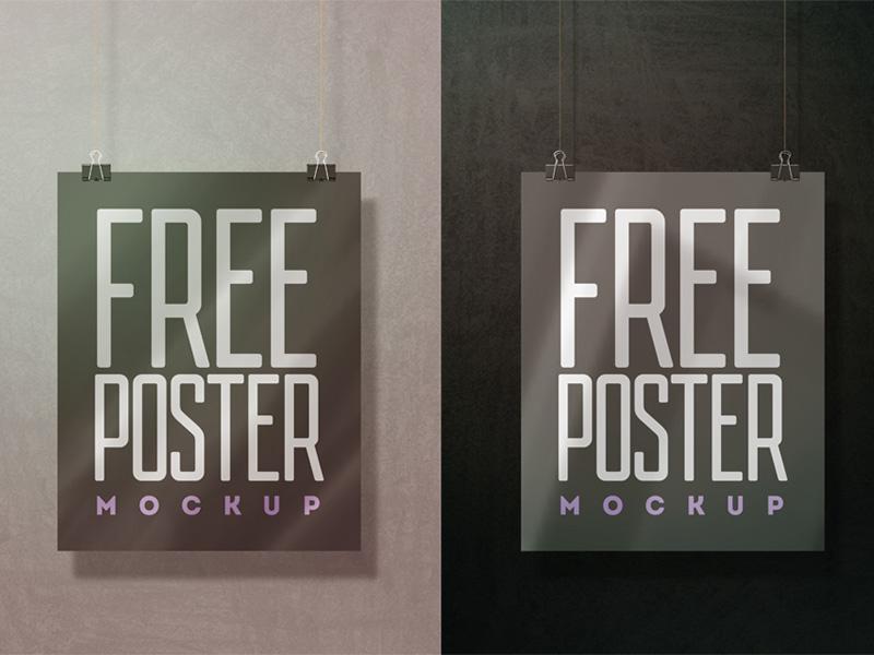 Hanging Wall Poster Mockup Free PSD