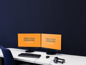 Dual Monitor Screen Mockup Free PSD