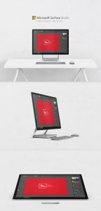 Microsoft Surface Studio Side View Mockup Free PSD