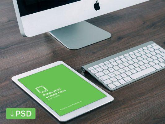 iPad Air on Desk Mockup template Free PSD