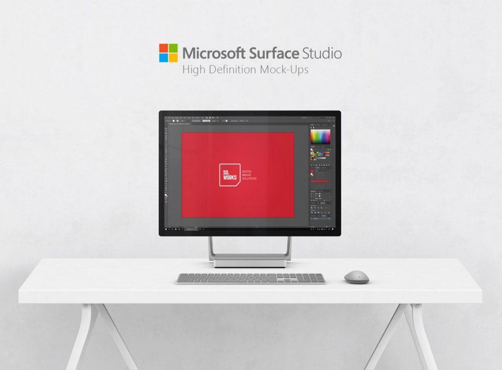 download microsoft surface studio on desk mockup free psd at download free. Black Bedroom Furniture Sets. Home Design Ideas