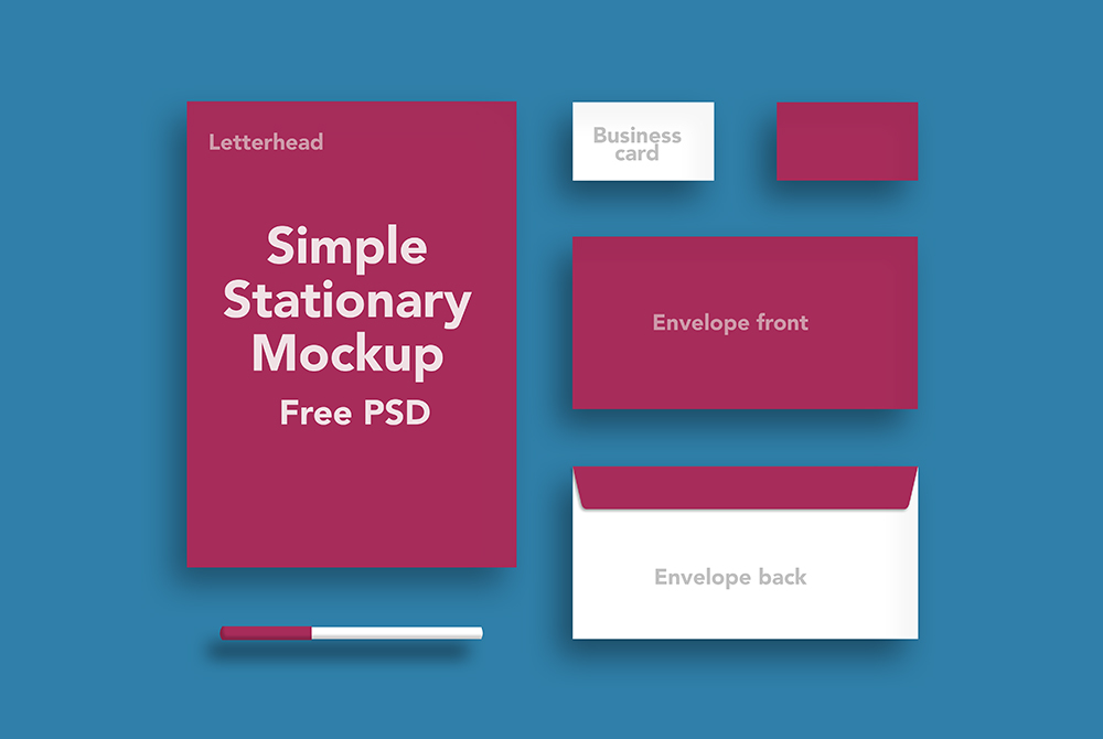 simple stationary mockup free psd download mockup