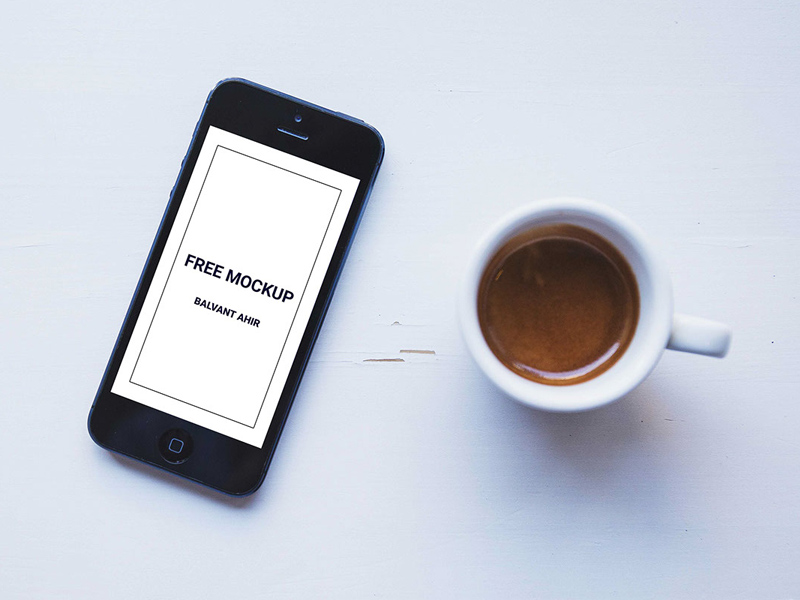Iphone With Coffee Cup Mockup Free Psd Download Mockup