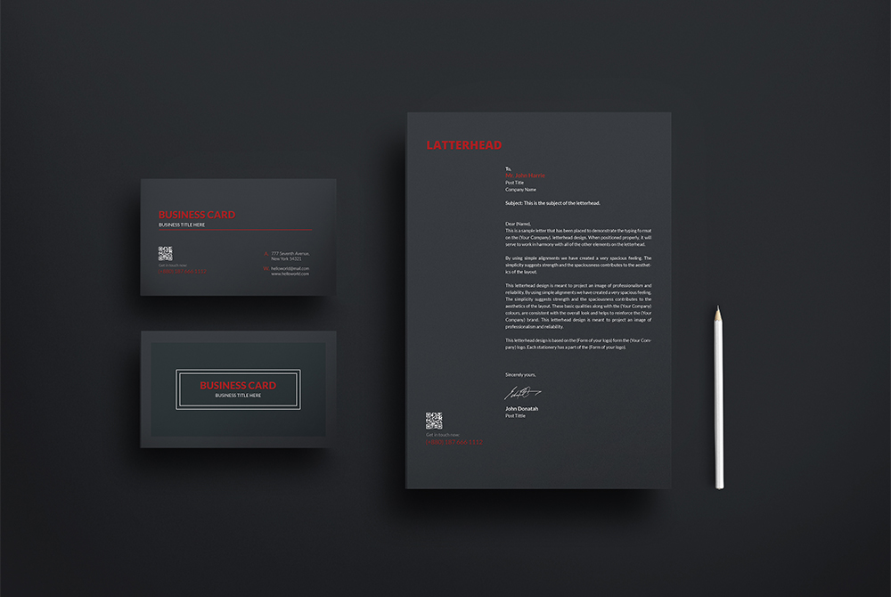 business card and letterhead mockup free psd