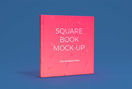 Square Book Cover Mockup Free PSD