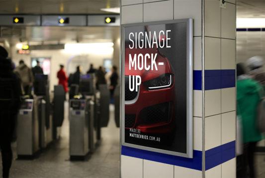 Billboard Signage Mockup Free PSD