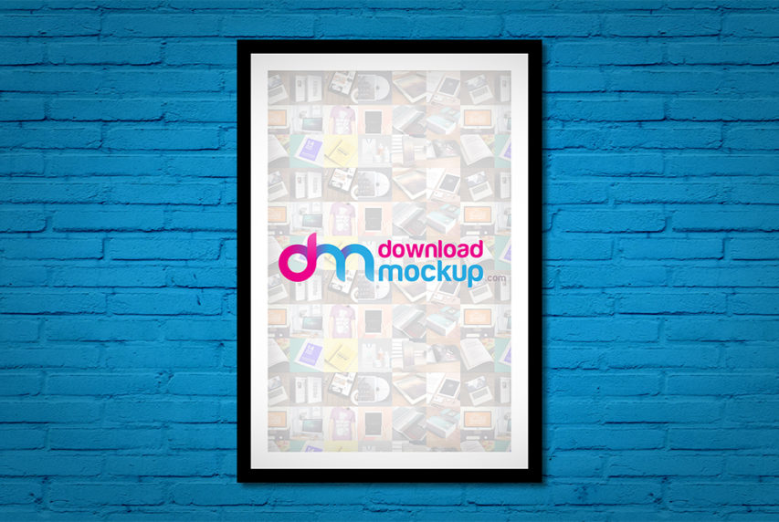 Wall Poster Frame Mockup Free PSD