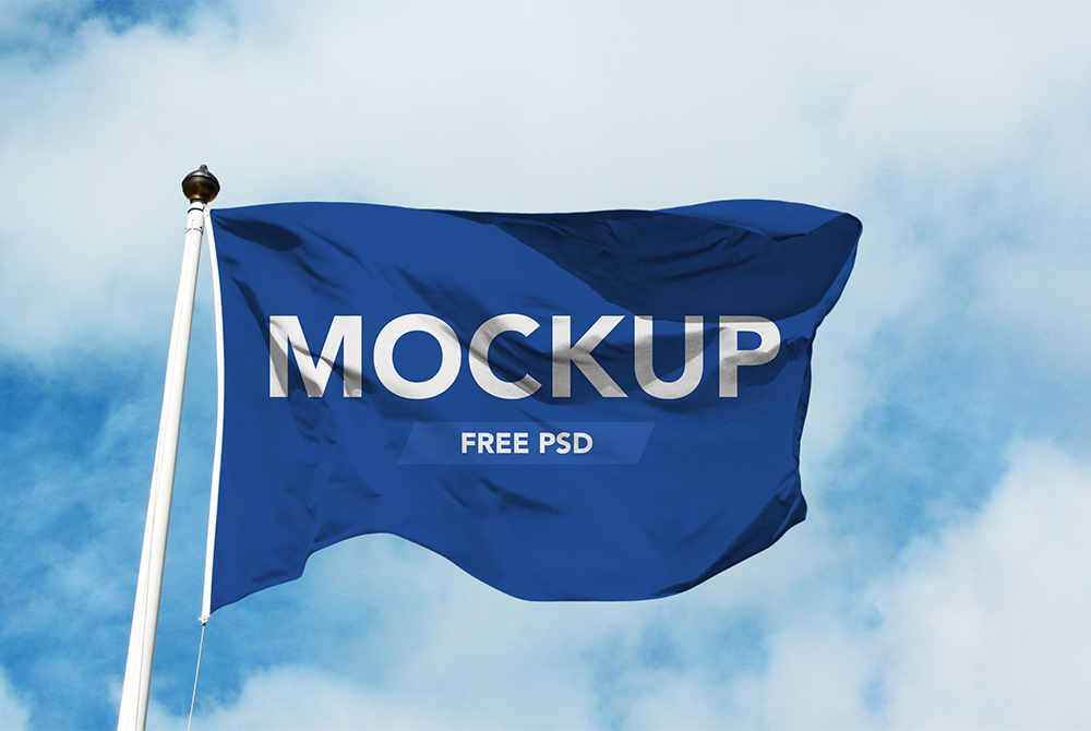 realistic flag mockup free psd download mockup