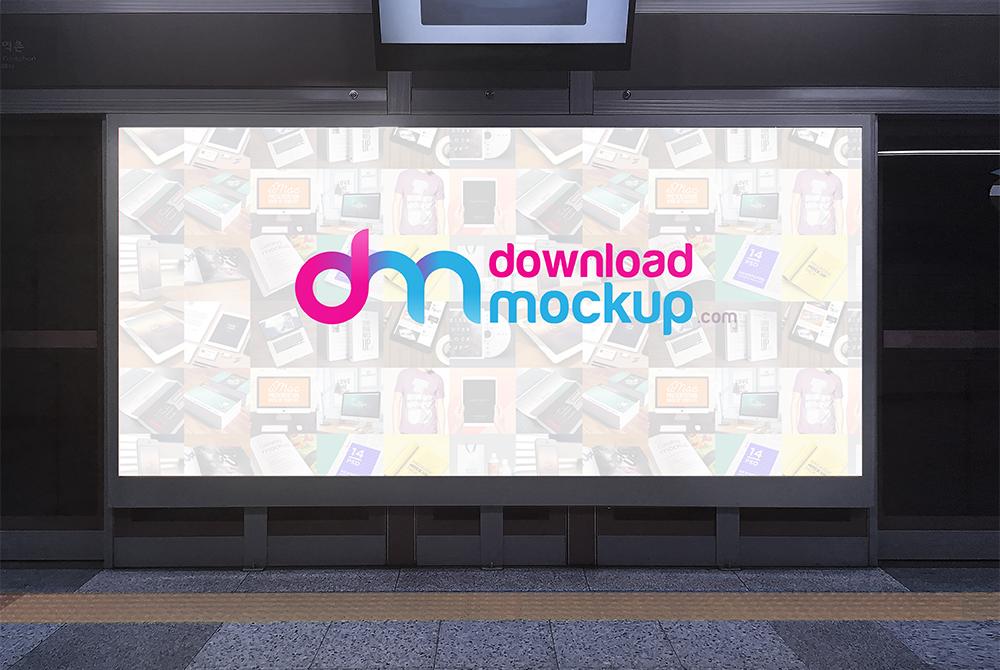 subway billboard mockup free psd
