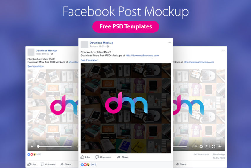 Facebook Post Mockup Templates PSD
