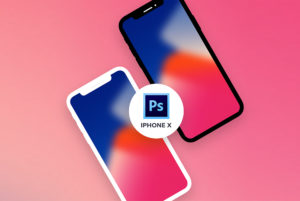 Flat iPhone X Mockup Template PSD