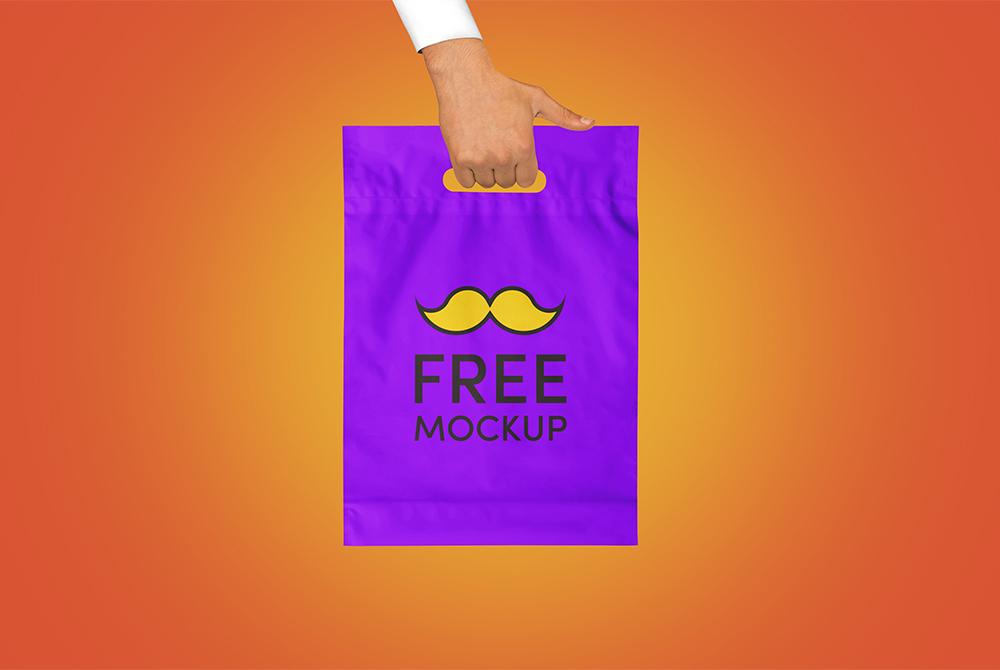 plastic hand bag mockup free psd