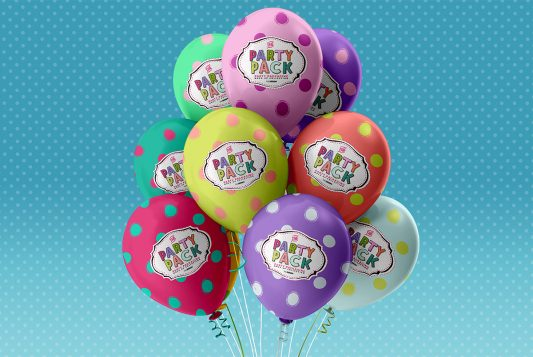 Party Balloons Mockup PSD