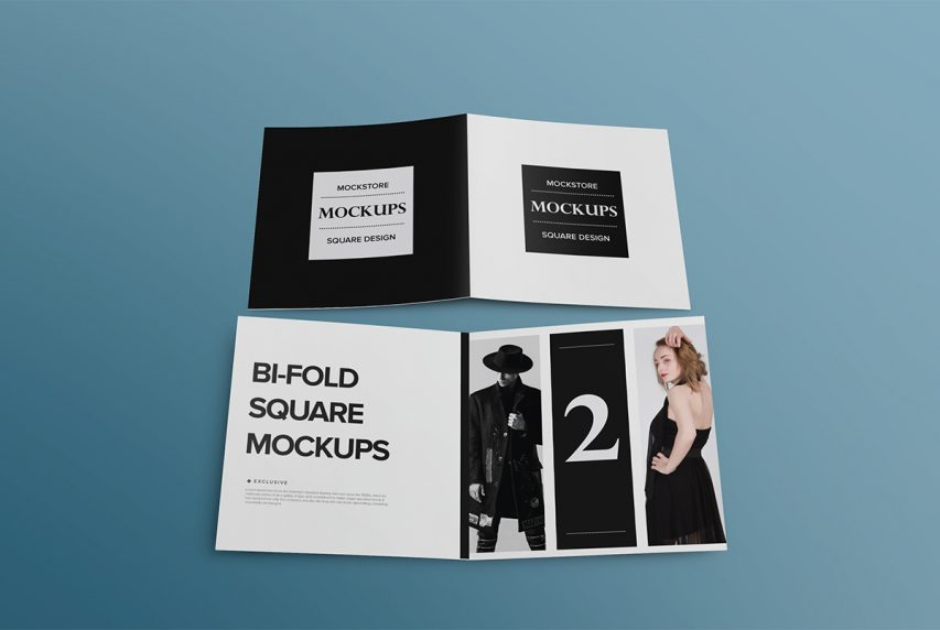 Bi-Fold Square Brochure Mockup