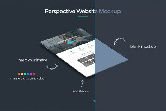 Perspective Website Mockup PSD