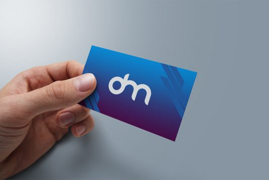 Holding Business Card PSD Mockup