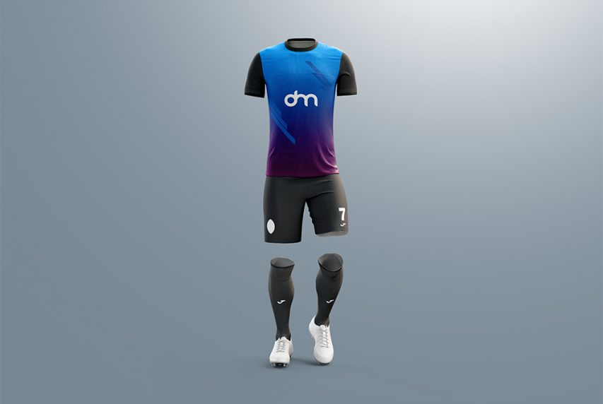 Men's Full Soccer Kit Mockup PSD