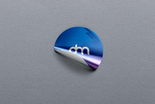 Round Foil Sticker Mockup