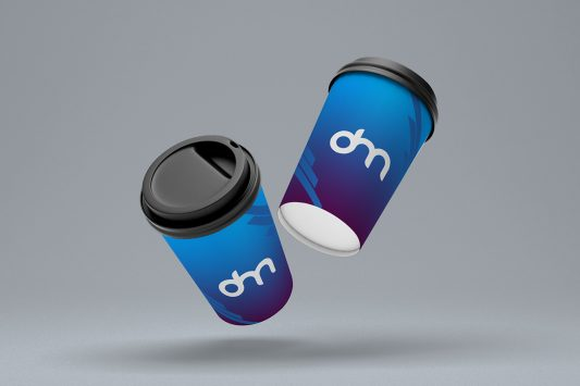 Floating Paper Coffee Cup Mockup